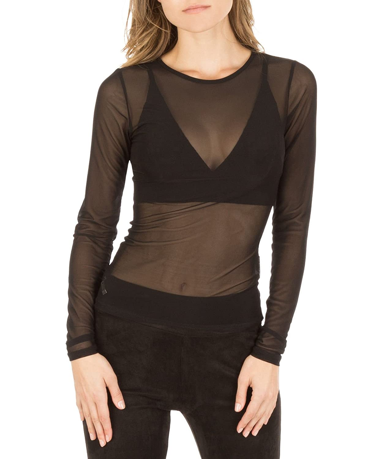 c1a68b24a78dd Womens Long Sleeve Sheer Mesh See Through Plain Top Plus Size T-Shirt   Amazon.co.uk  Clothing