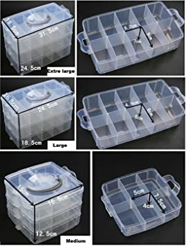 3-Tier Clear Stackable Storage Box with Compartments Sooyee Stackable Arts /& Crafts Case Tool Storage Box On-The-Go Craft Keeper Kids Jewellery Box w//Dividers Jewelry Box Bead Organizer Case