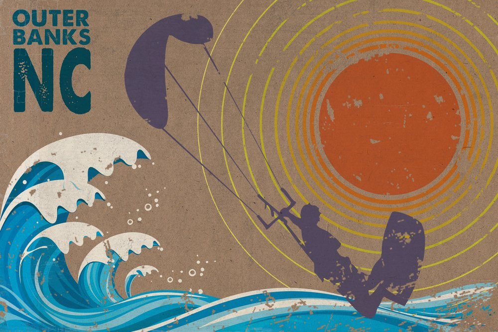 Outer Banks、ノースカロライナ州 – Kiteサーファーin the Waves 36 x 54 Giclee Print LANT-50061-36x54 36 x 54 Giclee Print  B017EA0HOC