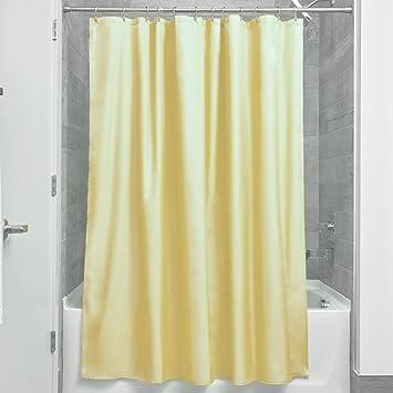 InterDesign rideau de douche tissu imperméable, 183,0 cm x 183,0 cm rideau  douche en polyester, rideau textile lavable ourlet renforcé, jaune
