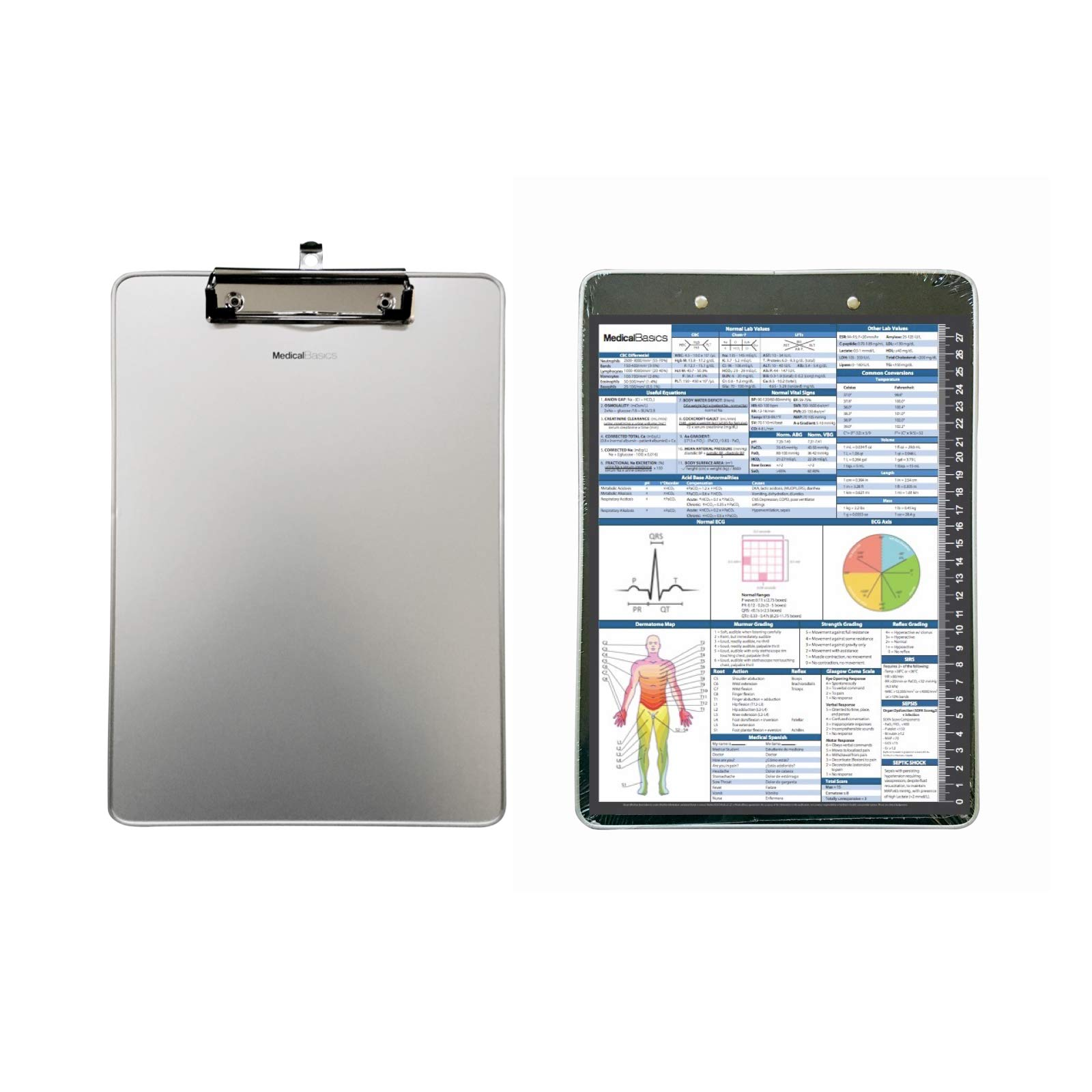 Medical Clipboard (Aluminum) with Quick Medical Reference Sheet (Flat Clip) – Clipboard for Doctors, Medical Students…