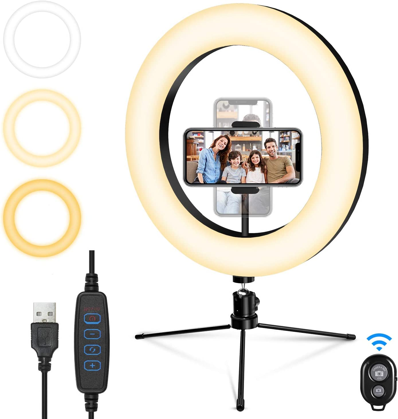 "SEBIDER 10"" LED Selfie Ring Light with Tripod Stand & Phone Holder, Dimmable Desktop Ring Light with 3 Light Modes & 13 Brightness Levels for Live Stream/Makeup/YouTube/TikTok/Photography Shooting"
