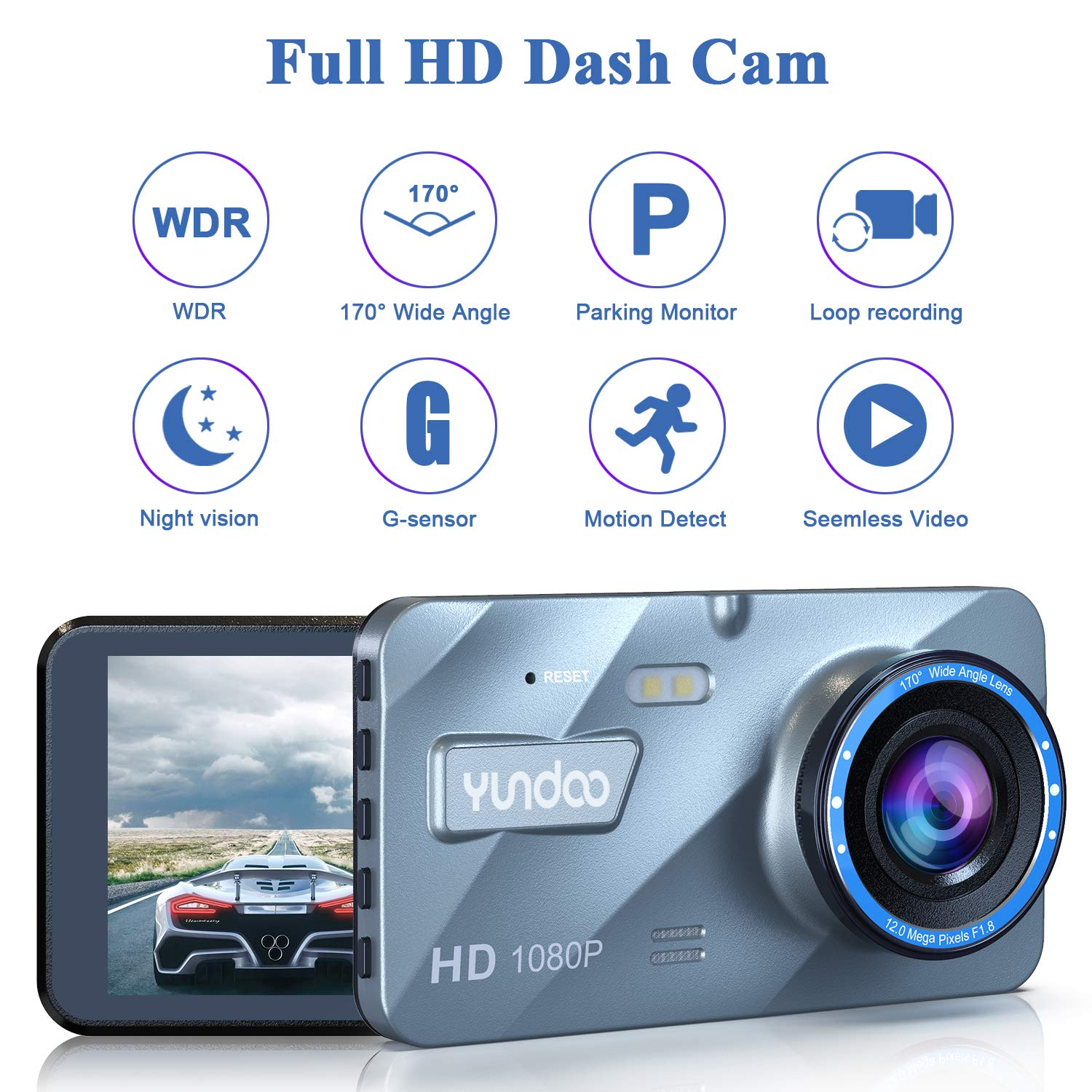 Dash Cam 1080p FHD Car Camera Aluminum Shell 4Big IPS Screen with 32GB SD Card 170/°Wide Angle Motion Detection Loop Recording Night Vision G-Sensor