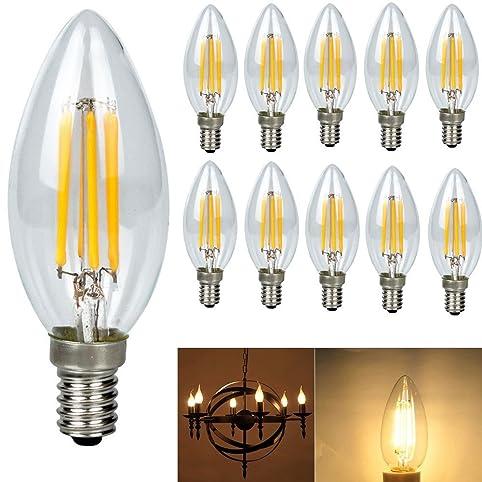 10 pack 4 watt e14 filament led bulbs 480lm 40w equivalent c35 candle light bulb edison