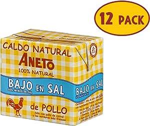Aneto 100% Natural - Caldo de Pollo Bajo en Sal - caja de