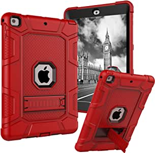 iPad 9.7 2018 Case,iPad 2017 9.7 Case,iPad 6th Generation Case,Dake 3-Layer Kickstand Defender Heavy Duty Shockproof Full-body Protective Case for Apple New iPad 9.7 Inch 2017/2018 Release Red