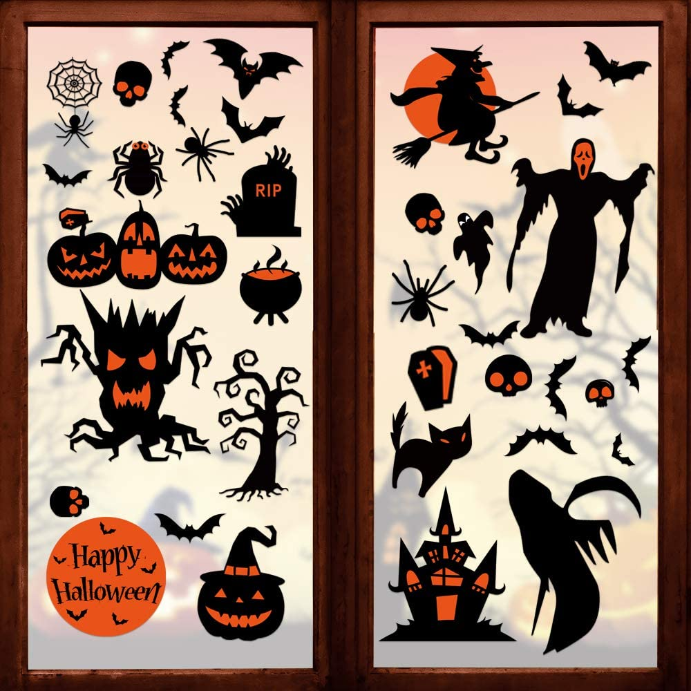 180 Pcs Halloween Decorations Clings Window Decals- 8 Sheet Large Halloween Black Bats/ Spiders/ Webs/ Pumpkins Decal- Halloween Window Decals- for Kids/School/Home/Office Supplies