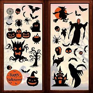 180 Pcs Halloween Decorations Clings Window Decals- 8 Sheet Large Halloween Black Bats/ Spiders/ Webs/ Pumpkins Decal- Halloween Window Decals- for Kids/School/Home/Office Supplies