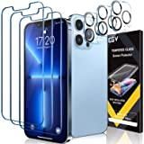 [3+3 Pack] EGV 3 Pack Screen Protector for iPhone 13 Pro 6.1 inch with 3 PCS Camera Lens Protector Tempered Glass, HD Screen,
