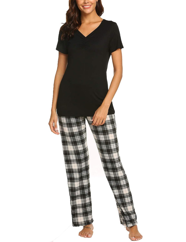 d8752a849bf1 Hotouch Pajama Sets Women Sleepwear Pjs Cotton Top   Long Plaid Bottoms  Loungwear Pj Set S-XXL at Amazon Women s Clothing store