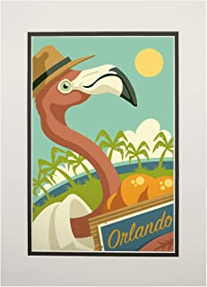 product image for Orlando, Florida - Flamingo and Oranges 100286 (11x14 Double-Matted Art Print, Wall Decor Ready to Frame)