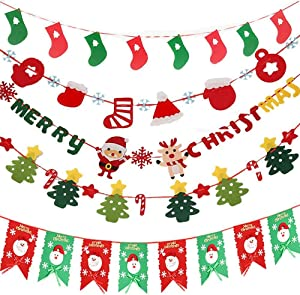 Merry Christmas Banner Flag Set, Merry Christmas Banner Decoration with Snowflake Reindeer Socks Xmas Garlands Burlap Sign for Holiday Christmas Home Decoration Mantel Fireplace Hanging Decor
