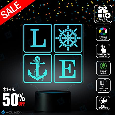 Amazon.com: Love Sailing, Anchor decor, Lamp with sea element design ...