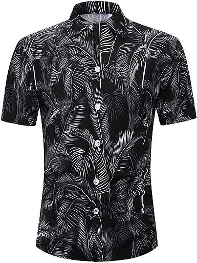 Camiseta Hombre MISSWongg Poliéster Camisas Hawaiana Secado rápido Manga Corta Ligero Transpirable Tops con Botones Suelto Vacaciones de Ocio Verano Blusa Casual de Estampado Camisa de Fiesta: Amazon.es: Ropa y accesorios