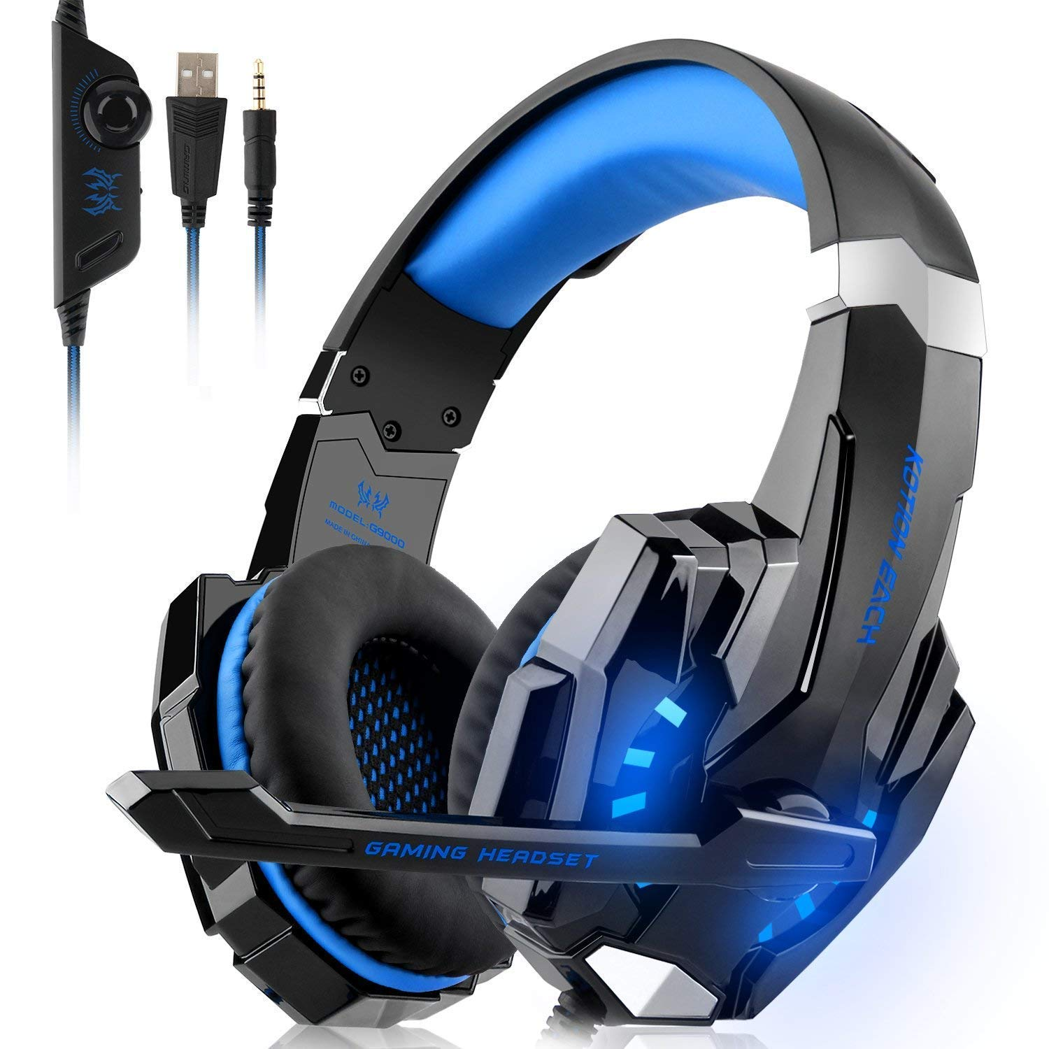 Gaming Headset PS4, Xbox One, PC, CASFANSTA Over Ear Headphones Mic, LED  Light Laptop Mac Games (Blue)
