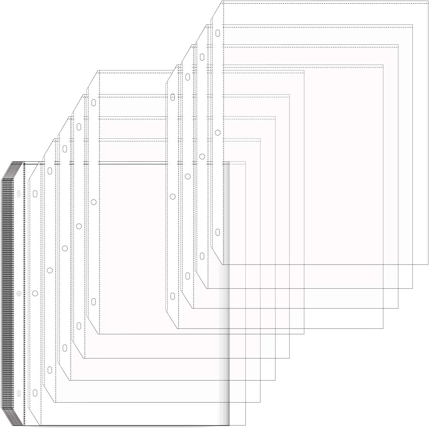 100 Clear Plastic Economy Sheet Page Protectors Document Office Ring Binder