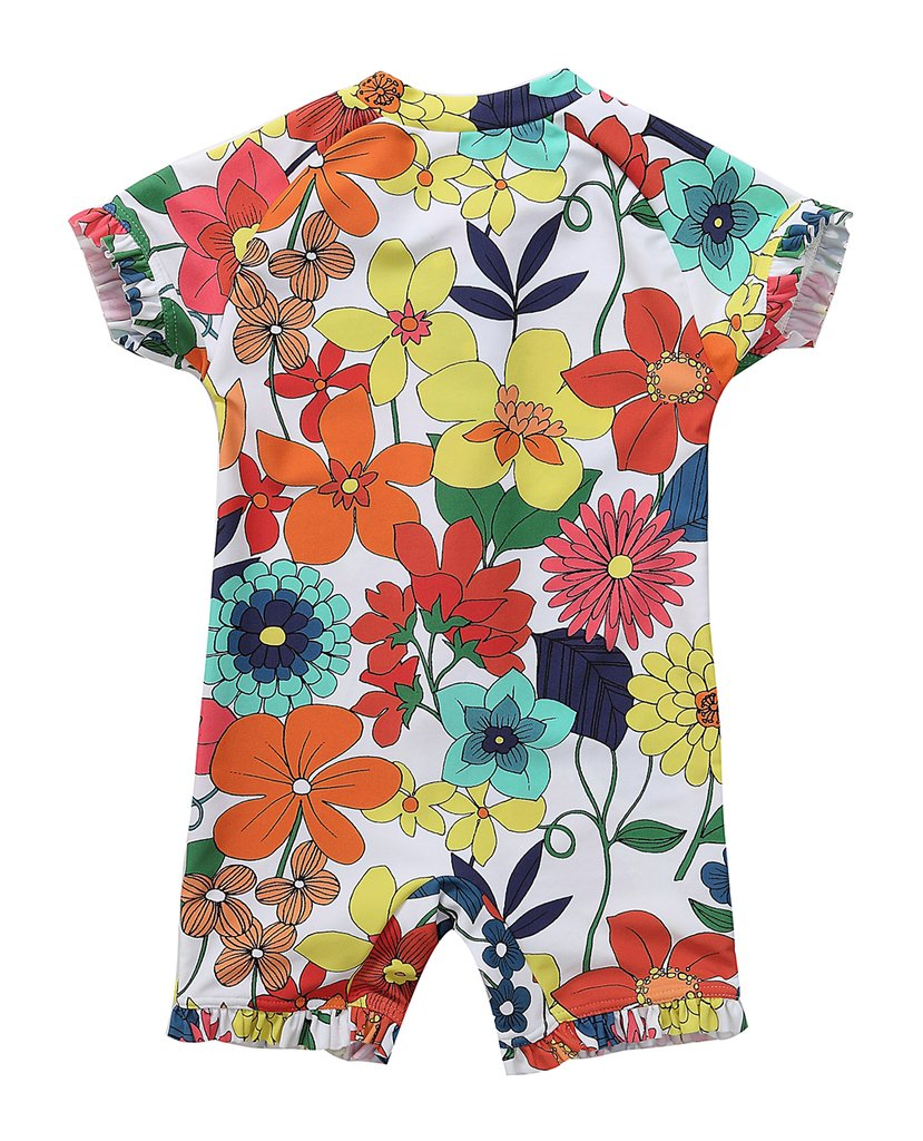 BeautyIn Girls Rash Guard Short Sleeve Swimsuits Floral Swimwear, 2-3Yrs, Color #1(fulfilled by Amazon) by beautyin (Image #2)