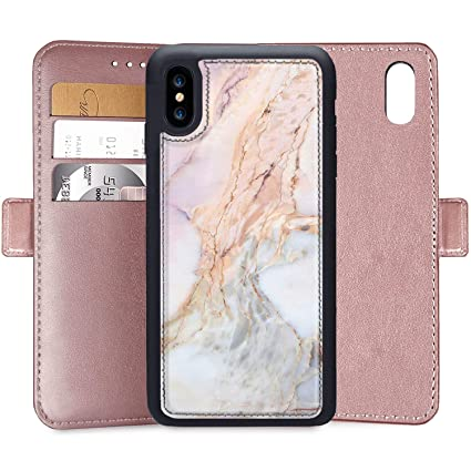 timeless design fd203 8afda Amazon.com: Wallet Case for iPhone Xs Max White Marble Custom PU ...