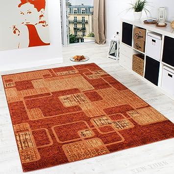 teppich wohnzimmer teppich retro muster meliert in terracotta ... - Teppich Wohnzimmer Grose