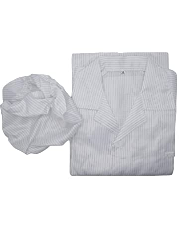 4ae7c708e99 Yootop Size M White Strip Unisex Anti-static LAB Smock Clothes Coat with  Hat Clean