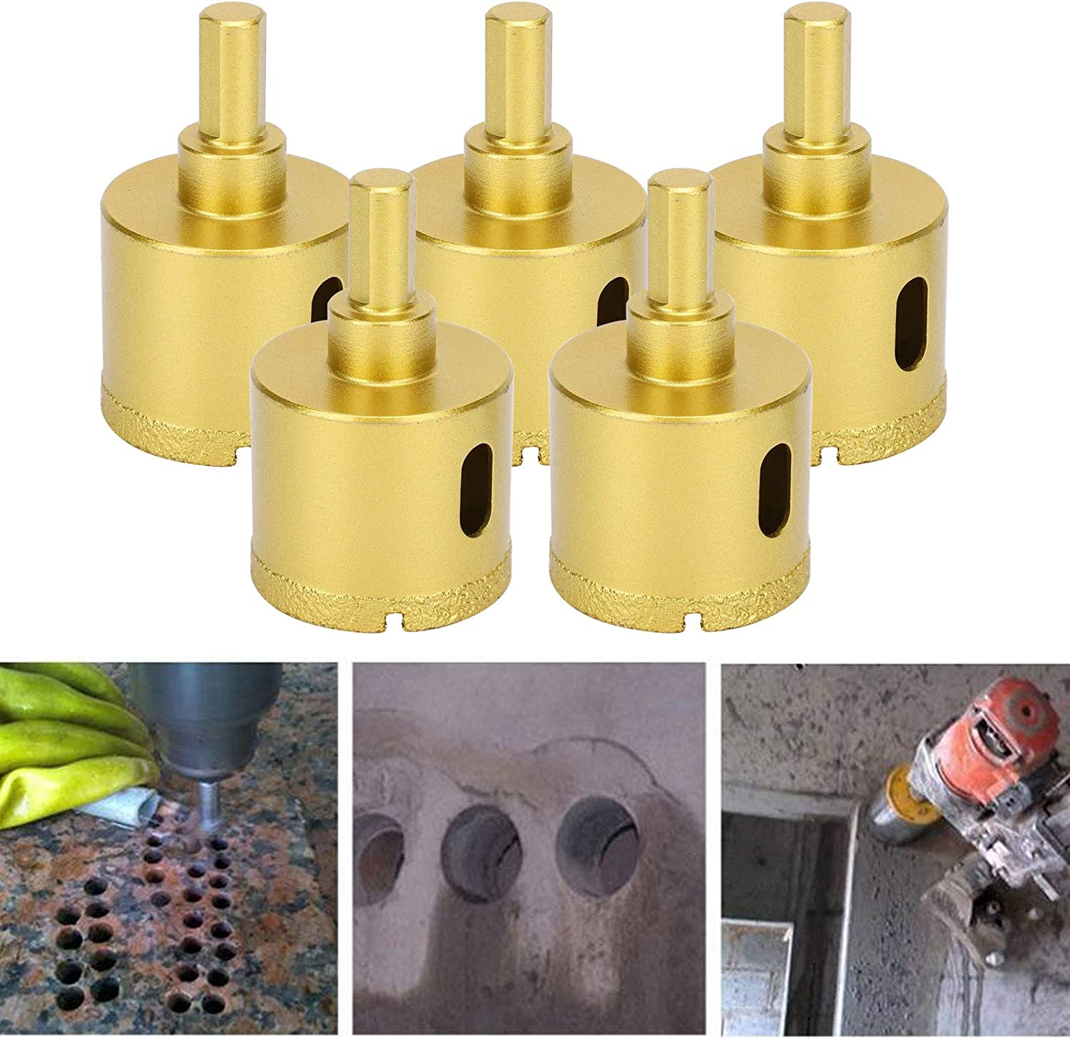 Firmly Diamond Drill Cutter Drilling Tools for Industrial Marble Concrete Ceramic Glass Artificial Stone 5Pcs Diamond Hole Drill 40mm Diamond Hole Bit
