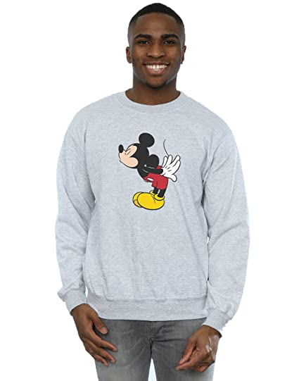Disney Homme Mickey Mouse Split Kiss Sweat-Shirt Small Heather Gris 241251d53efd