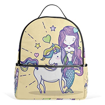 0048f6a7651a Amazon.com: TropicalLife Mermaid Girl Unicorn Backpacks School ...