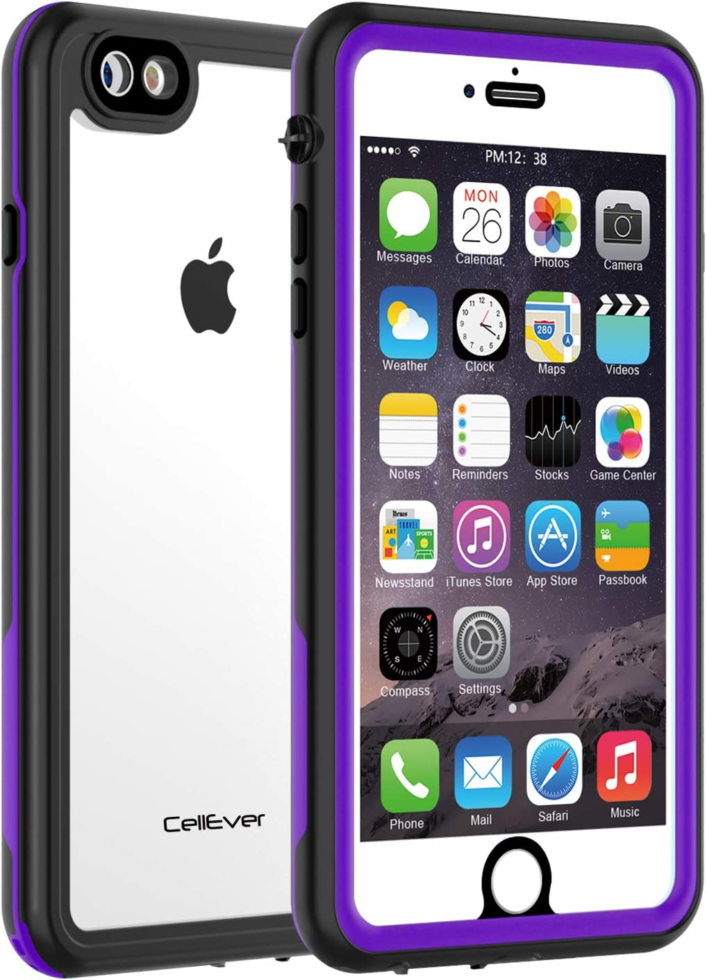 CellEver iPhone 6 / 6s Waterproof Case Shockproof IP68 Certified SandProof Snowproof Full Body Protective Clear Transparent Cover Fits Apple iPhone 6 and iPhone 6s (4.7 Inch) KZ Purple