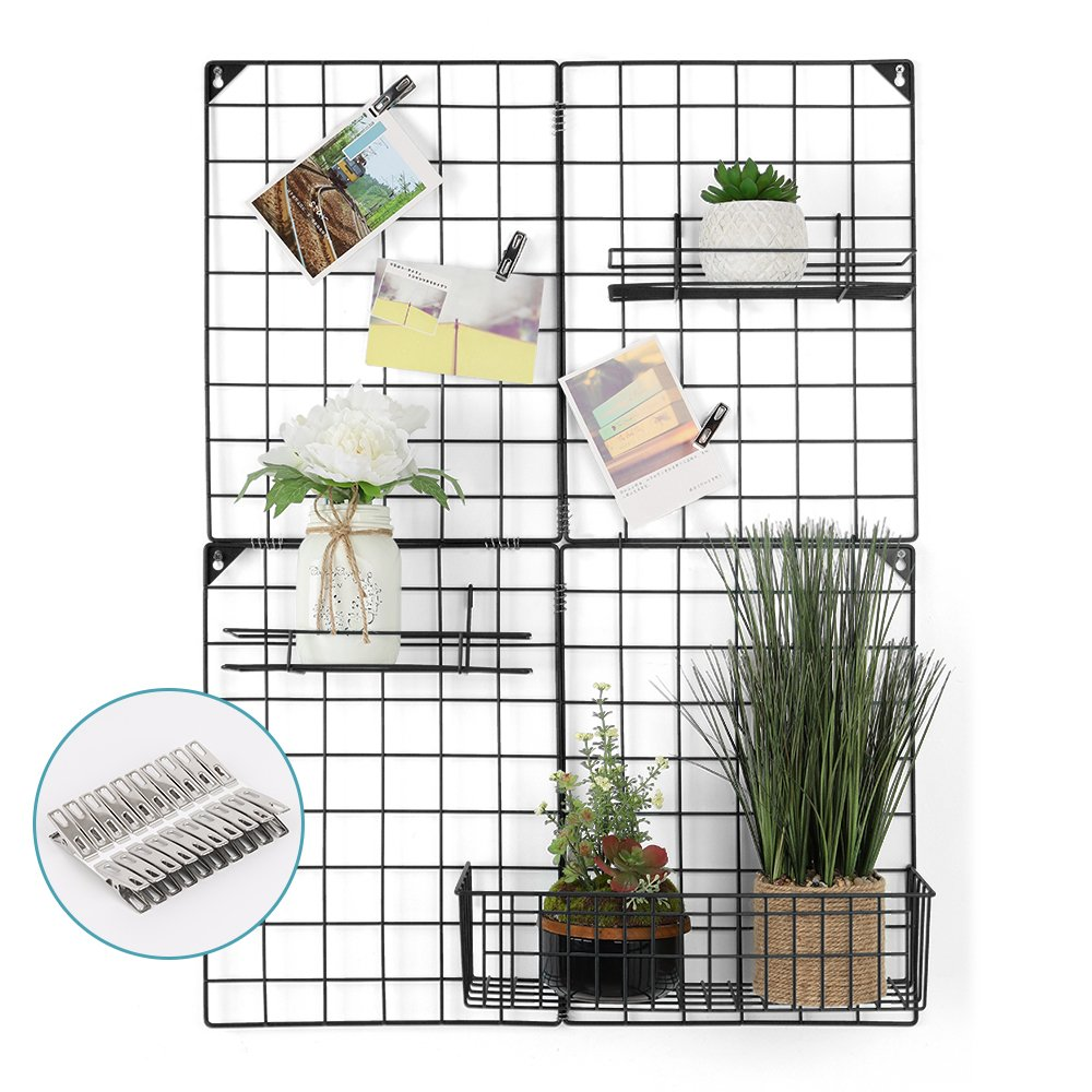 LIANTRAL Wall Grid Panel For Photo Hanging Display Wall Decoration Organizer, Multifunctional Grid Photo Wall Storage Organizer, Size: 32.68'' x 23.82'', Black