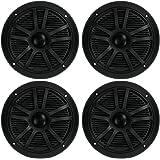 "BOSS 6.5"" 360W Dual Cone Black Marine Boat Outdoor Audio Speakers, 4pk | MR6B"