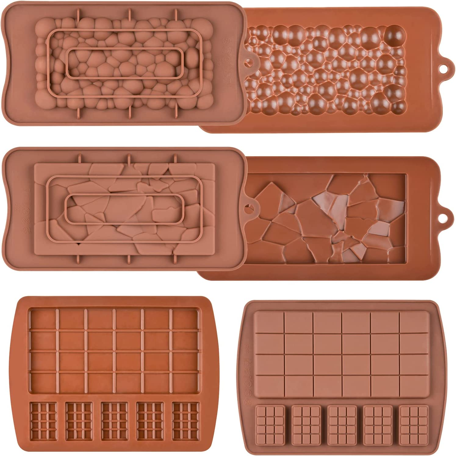Fimary Chocolate Molds, Silicone Break Apart Candy Molds for Protein Energy Bar Candy Bar, Food Grade and Non Stick Silicone Molds for Baking, Pack of 6