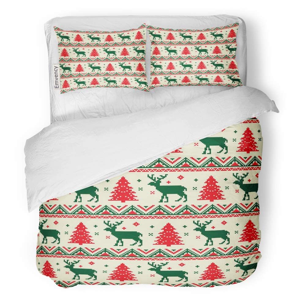 Emvency Decor Duvet Cover Set Twin Size Red Sweater Christmas Pixel Pattern Yellow Reindeer Holiday Nordic Vintage Artistic 3 Piece Brushed Microfiber Fabric Print Bedding Set Cover