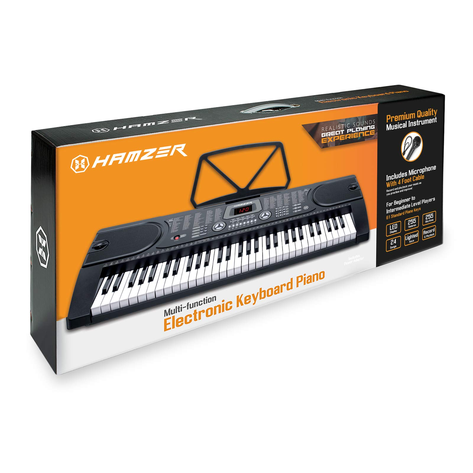 Hamzer 61-Key Electronic Keyboard Portable Digital Music Piano with Lighted Keys, H Stand, Stool, Headphones Microphone, Sticker Set by Hamzer (Image #8)