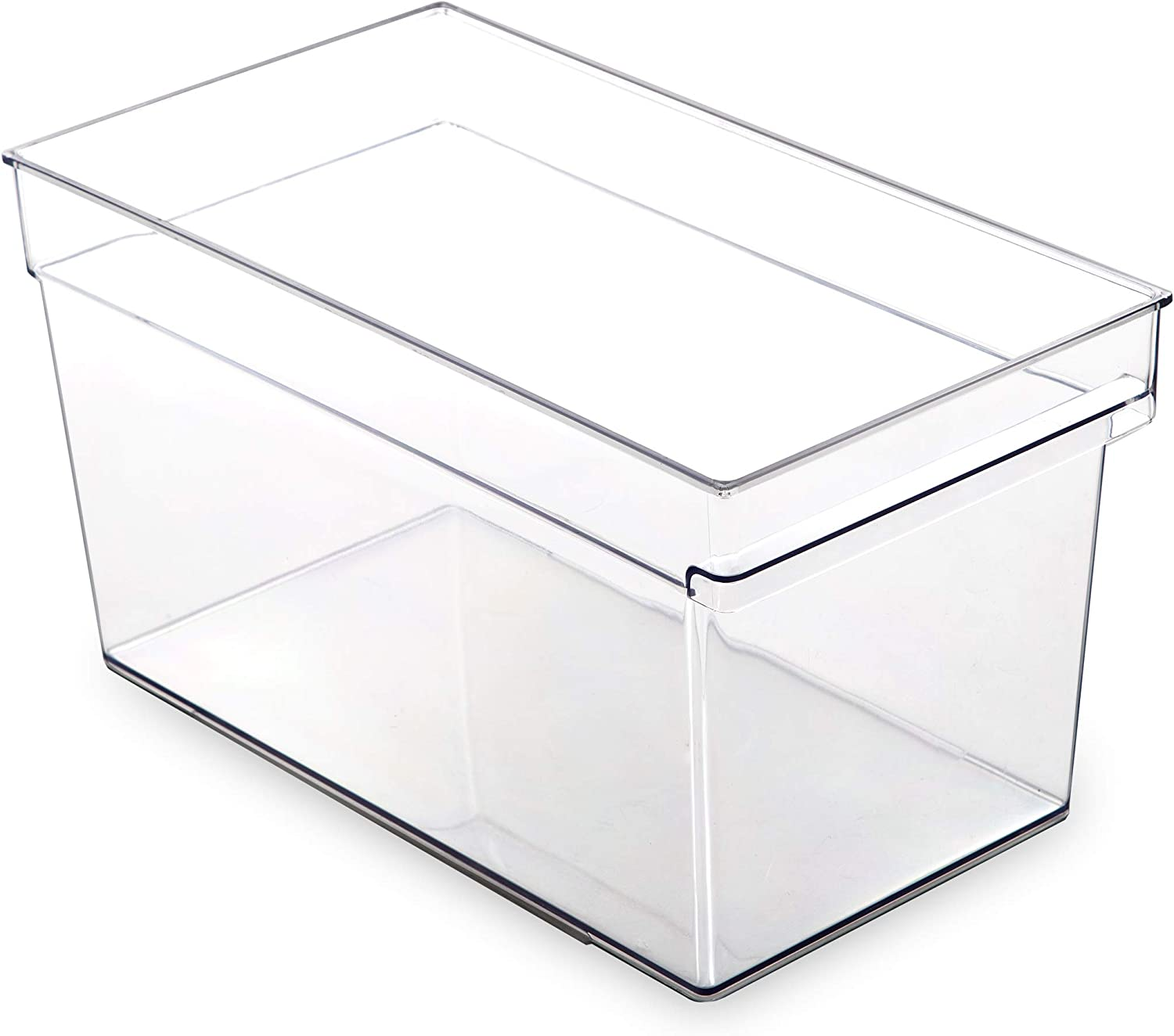 BINO Clear Plastic Storage Bin with Built-In Pull Out Handle - (Deep, Large) - Storage Bins for Home, Kitchen, and Bath - Refrigerator, Freezer, Cabinet, Closet, Pantry Organization and Storage