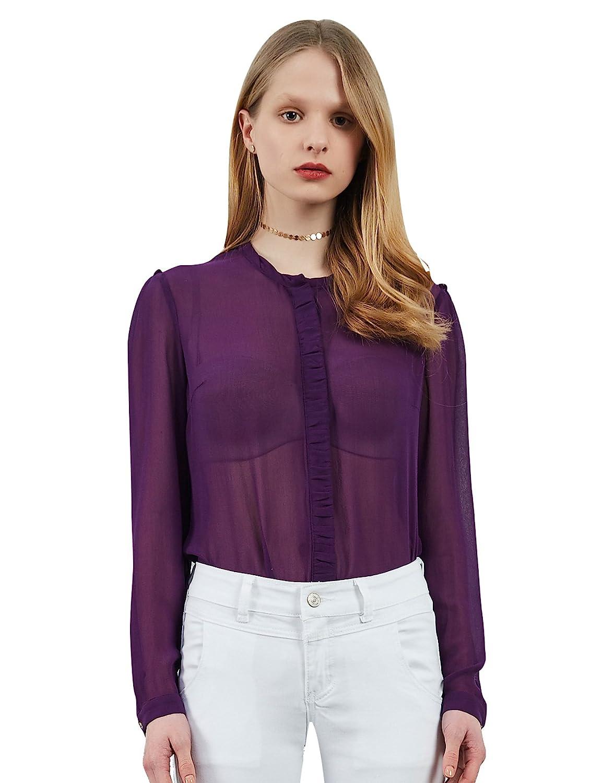 9b0c6e6f5440a Silk Button Down Shirt Long Sleeve Mulberry Silk Shirt Silk Blouses Tops  for Women Chiffon Shirt Black Dark Purple (S