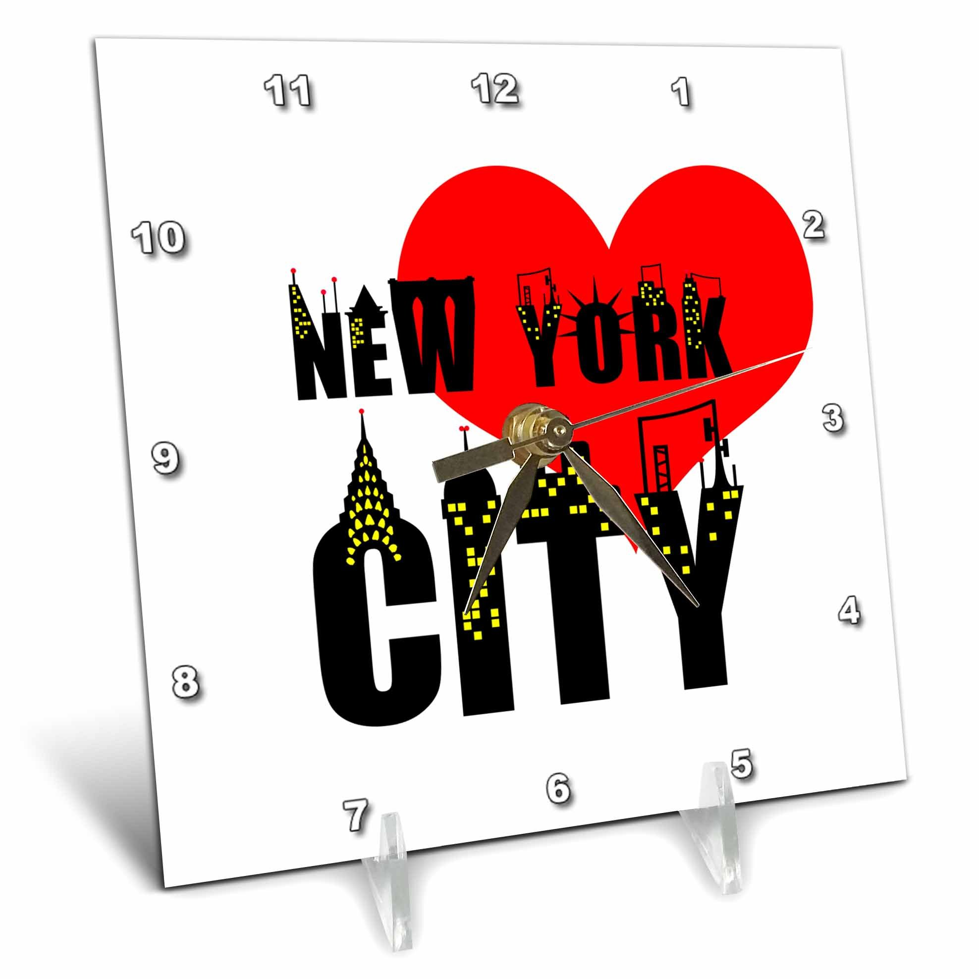 3dRose Alexis Design - American Cities - Stylish text New York City, red heart, shining windows on black - 6x6 Desk Clock (dc_286453_1)