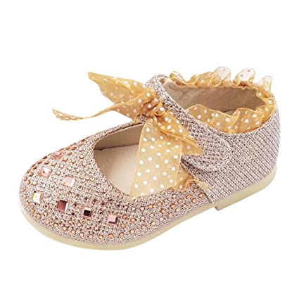 54b7b27bfff1c Amazon.com: Sparkle Princess Shoes for Toddler Girls Sequin Bowknot ...