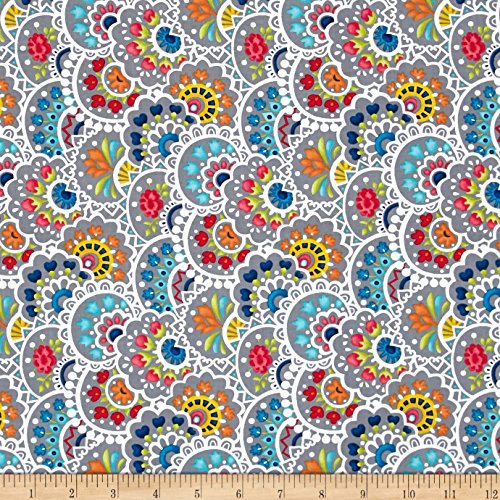 Bree Multi Paisley Gray Fabric By The Yard (Gray Bree)