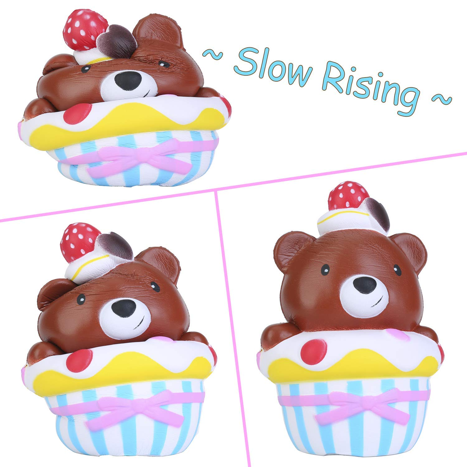 Bear Cake Squishy Panda Ice Cream Pack - Crefun NM9212 (2019 New) Slow Rising Cute Squishy Animals Squishies Food Gifts for Kid Stress Relief Toys including 2Pcs 6.7 Inch Jumbo Squishies Super Soft Cr