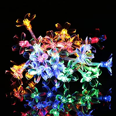 Meedasy 23ft/7M 50 LED Waterproof Multi Color Changing String Lights, Battery Fairy Peach Flower Blossom Lights for Outdoor Indoor Lawn Patio Home Xmas Wedding Christmas Tree Decorations