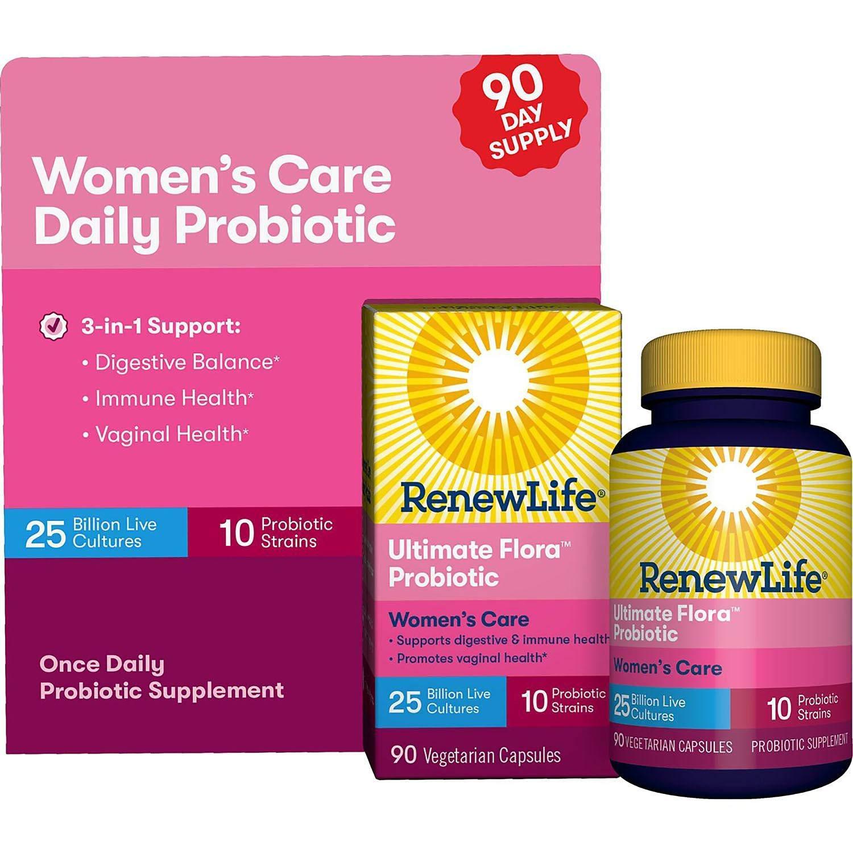 Renew Life Women's Probiotic - Ultimate Flora Probiotic Women's Care, Shelf Stable Probiotic Supplement (90 Count)