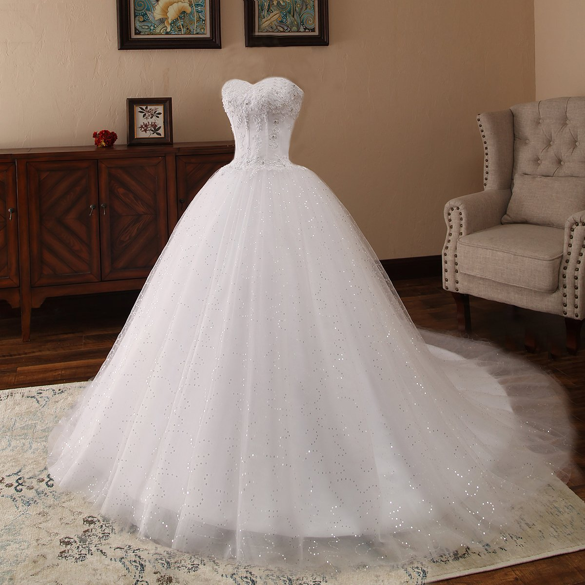 DingXuBao Womens Decals White//Ivory Lace Beads Wedding Dresses Beach Wedding Dresses Church Wedding Dresses