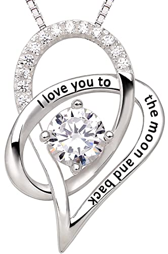 Amazon alov jewelry sterling silver i love you to the moon and alov jewelry sterling silver i love you to the moon and back love heart cubic zirconia mozeypictures Choice Image