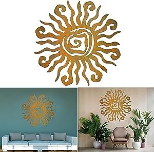 Wacky Sun Metal Wall Art Steel Outdoor Decor, Metall Outdoor Wall Decor Spiral Sun Decor Art (18inch, Copper)