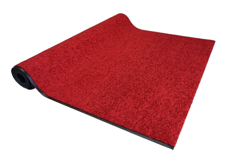 Proper Tex Uni Läufer rot Schmutzfangläufer Meterware nach Maß 120 cm breit Teppich Brücke Flur in vielen Längen und Breiten lieferbar, waschbar bei 30 Grad, rutschfest, saugfähig und leicht zu reinigen, extrem strapazierf&a