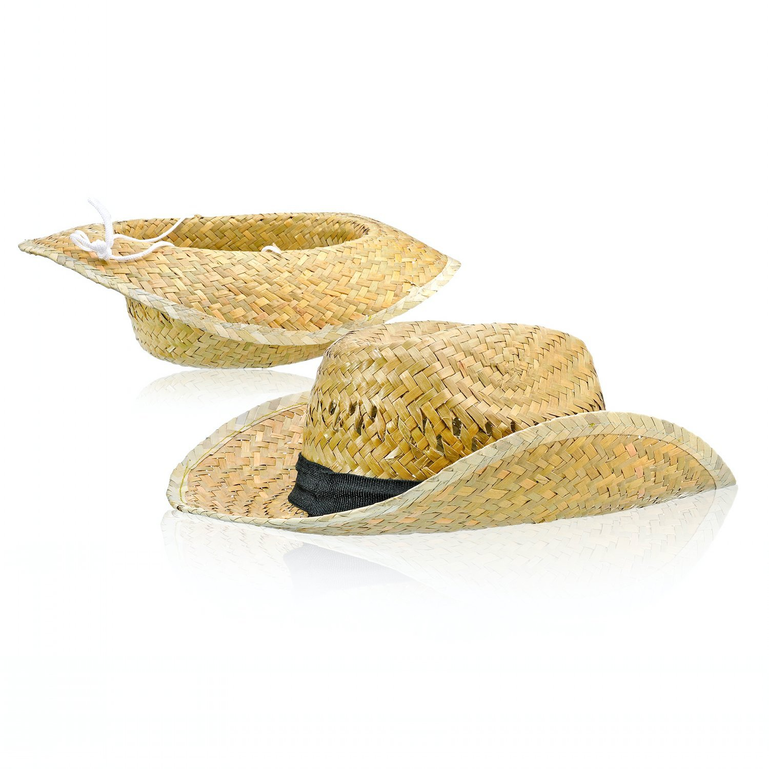 Bottles N Bags 2 pack ! Woven Straw Cowboy Hat with Fabric Band and Adjustable Chinstrap, Perfect Cruise Accessory by