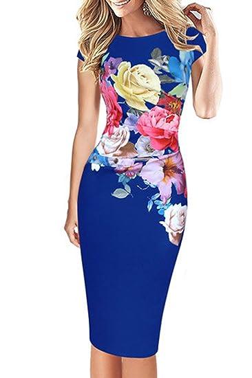 Monika Verano Mujeres Cuello Redondo Manga Corta Midi Vestido Moda Impresión Costura Lápiz Vestido Apretado Paquete de Cadera Vestidos de Partido Cóctel ...