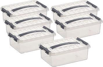 Super Aufbewahrungsbox - 6 Boxen à 12 Liter im Set / 40 x 30 x 14 cm mit  ZG33