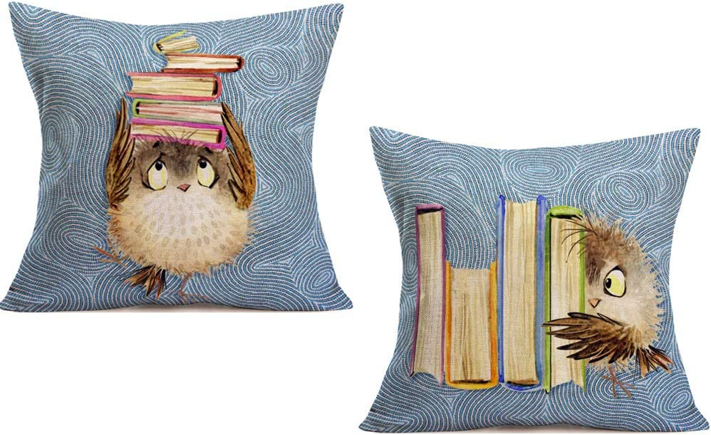 Asminifor Adorable Animals Throw Pillow Covers Cute Cartoon Owls and Books Design Cotton Linen Pillowcase Square Bird Cushion Cover Decor for Kids Man Home Sofa 18x18Inch,2Pack (at-Owls)
