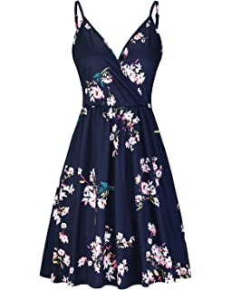 211d0532a91 STYLEWORD Women s V Neck Floral Spaghetti Strap Summer Casual Swing Dress  with Pocket